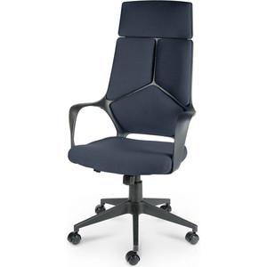Кресло офисное NORDEN IQ black plastic gray-blue черный пластик/темно-серая ткань