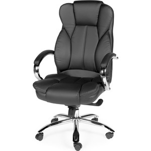 Кресло офисное NORDEN Верса black сталь + хром/черная экокожа