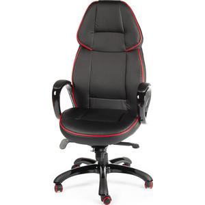 Кресло офисное NORDEN Виннер черный пластик/черная экокожа/красный кант кресло офисное norden шелби серый пластик черная экокожа оранжевая строчка