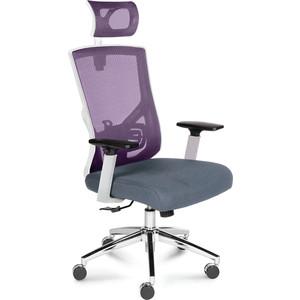 Кресло офисное NORDEN Гарда белый пластик/вишневая сетка/серая сидушка