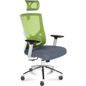 Кресло офисное NORDEN Гарда белый пластик/зеленая сетка/серая сидушка