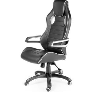 Кресло офисное NORDEN Джокер/черный пластик/черная экокожа/белая строчка кресло офисное norden шелби серый пластик черная экокожа оранжевая строчка