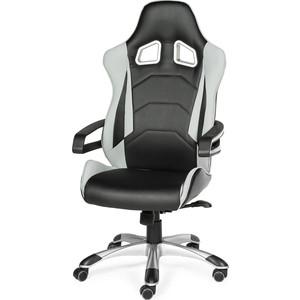 Кресло офисное NORDEN Джокер Х/черно-белый пластик/черная экокожа/серая ткань