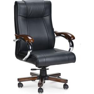 Кресло офисное NORDEN Дипломат дерево/черная экокожа фото