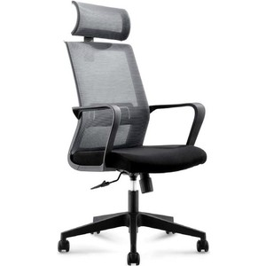 цена Кресло офисное NORDEN Интер база нейлон/черный пластик/серая сетка/черная ткань онлайн в 2017 году