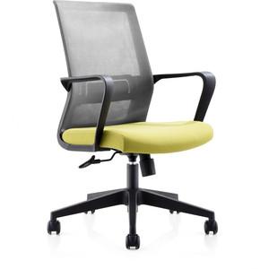 Кресло офисное NORDEN Интер LB/ черный пластик/серая сетка/зеленая ткань