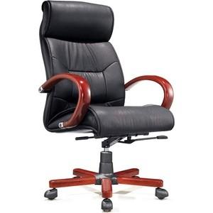 Кресло офисное NORDEN Конгресс дерево/черная экокожа