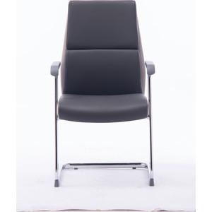 Кресло офисное NORDEN Лондон CF/ хром/темно серая+светло серая (вставки) экокожа фото
