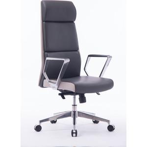 Кресло офисное NORDEN Лондон люкс/хром/темно серая+светло серая (вставки) экокожа