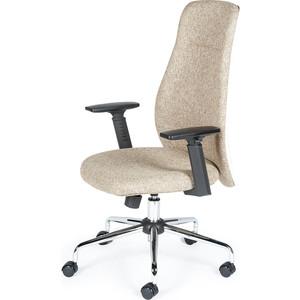 Кресло офисное NORDEN Милан хром крестовина/черные подлокотники/бежевая ткань