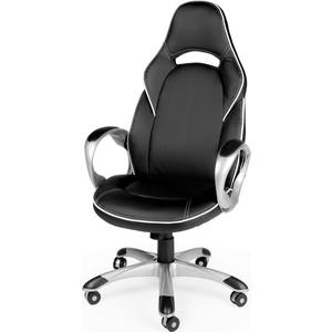 Кресло офисное NORDEN Мустанг Х/серый пластик/черная экокожа/белая строчка