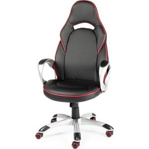 цена Кресло офисное NORDEN Мустанг Х / серый пластик / черная экокожа / красная строчка онлайн в 2017 году