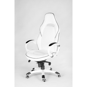 Кресло офисное NORDEN Мустанг X/(white) белый пластик/белая экокожа/черная строчка sumdex tch 974 wt до 9 7 экокожа пластик