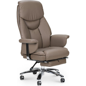 Кресло офисное NORDEN Парламент grey-brown сталь + хром/серо коричневый экокожа