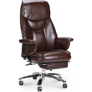 Кресло офисное NORDEN Парламент сталь + хром/коричневая №70-8 экокожа