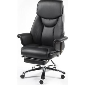Кресло офисное NORDEN Парламент black сталь + хром/черная кожа