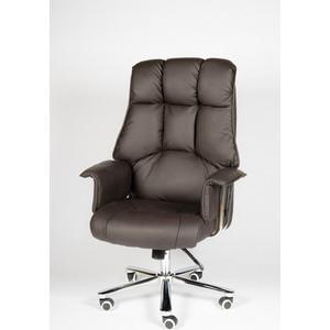 Кресло офисное NORDEN Президент сталь + хром/темно-коричневая кожа