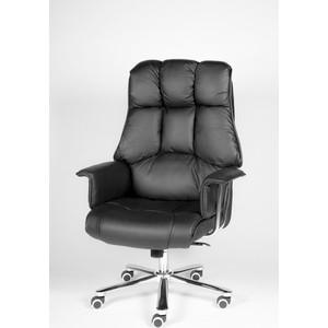 Кресло офисное NORDEN Президент сталь + хром/черная кожа