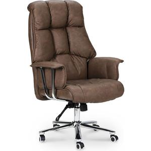 Кресло офисное NORDEN Президент сталь + хром/коричневая №320 экокожа