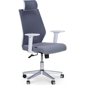 Кресло офисное NORDEN Престиж белый пластик/серая сетка/серая ткань