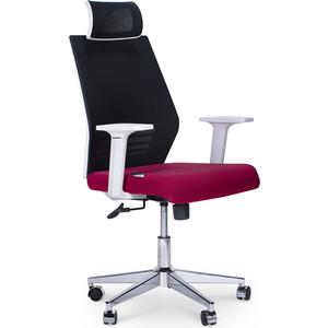 Кресло офисное NORDEN Престиж белый пластик/черная сетка/вишневая ткань