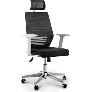 Кресло офисное NORDEN Престиж белый пластик/черная сетка/черная ткань фото