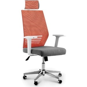 Кресло офисное NORDEN Престиж белый пластик/оранжевая сетка/серая ткань