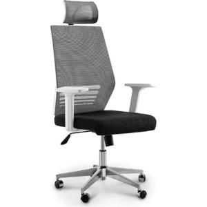 цена Кресло офисное NORDEN Престиж белый пластик/серая сетка/черная ткань (база нейлон) онлайн в 2017 году