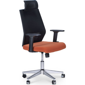 Кресло офисное NORDEN Престиж black/ черный пластик/черная сетка/оранжевая ткань кресло офисное norden шелби серый пластик черная экокожа оранжевая строчка