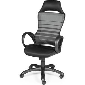 Кресло офисное NORDEN Реноме черный пластик/черная ткань/черно-серая полоска фото