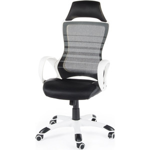 Кресло офисное NORDEN Реноме белый пластик/черная ткань/черная сетка фото