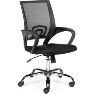 Кресло офисное NORDEN Спринг full black база хром/черная сетка/черная ткань офисное кресло profoffice skin сетка кожа белый черный хром сетка кожа полозья