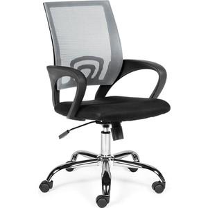 Кресло офисное NORDEN Спринг grey-black база хром/темно серая сетка/черная ткань