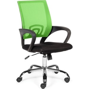 Кресло офисное NORDEN Спринг green-black база хром/зеленая сетка/черная ткань