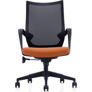 Кресло офисное NORDEN Спэйс LB/ черный пластик/черная сетка/оранжевая ткань