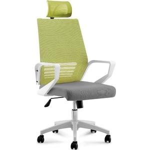 Кресло офисное NORDEN Эрго белый пластик/зеленая сетка/серая ткань