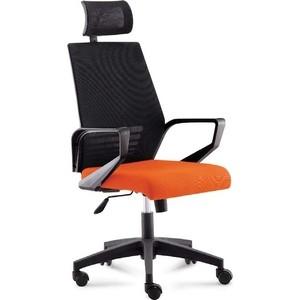 Кресло офисное NORDEN Эрго black/ черный пластик/черная сетка/оранжевая ткань