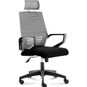 цена Кресло офисное NORDEN Эрго black/ черный пластик/серая сетка/черная ткань онлайн в 2017 году