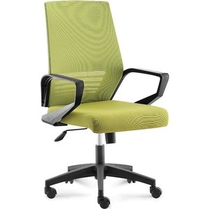 Кресло офисное NORDEN Эрго black LB/ черный пластик/зеленая сетка/зеленая ткань (низкая спинка)