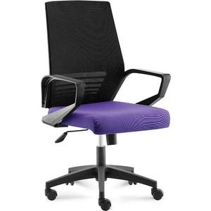 Кресло офисное NORDEN Эрго black LB/ черный пластик/черная серка/фиолетовая ткань (низкая спинка)
