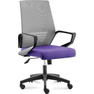 Кресло офисное NORDEN Эрго black LB/ черный пластик/серая серка/фиолетовая ткань (низкая ткань)