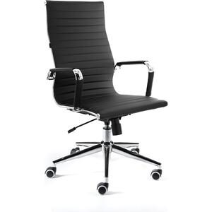 Кресло офисное NORDEN Техно хром/черная экокожа