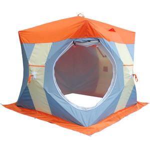 Палатка Митек Нельма Куб-2 Люкс (двухслойная) (оранжевый/белый/серо-голубой) цена и фото