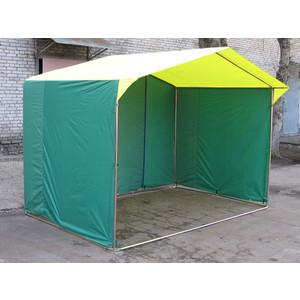 Палатка торговая Митек Домик 2,0х2,0 (труба D - 25 мм)(Зеленый/Желтый)
