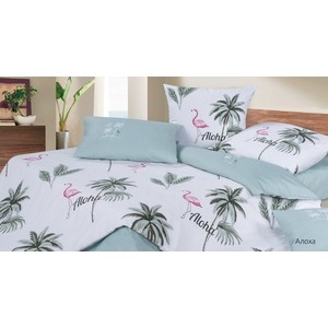 Комплект постельного белья Ecotex евро, сатин, Гармоника Алоха (4660054344640) цена 2017