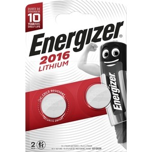 Батарейка ENERGIZER Lithium CR 2016 3V, таблетка (2 шт) батарейка energizer lithium cr1616 1 шт 3v