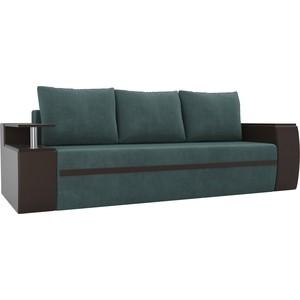 Прямой диван АртМебель Майами велюр бирюза/экокожа коричневый