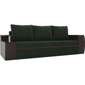 Прямой диван АртМебель Майами велюр зеленый/экокожа коричневый