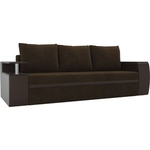 Прямой диван АртМебель Майами велюр коричневый/экокожа коричневый