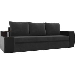 Прямой диван АртМебель Майами велюр серый/экокожа черный